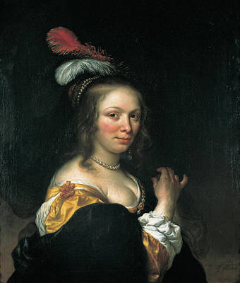 Portrait Of Young Woman With A Hat With Feathers Poster by Govert Flinck