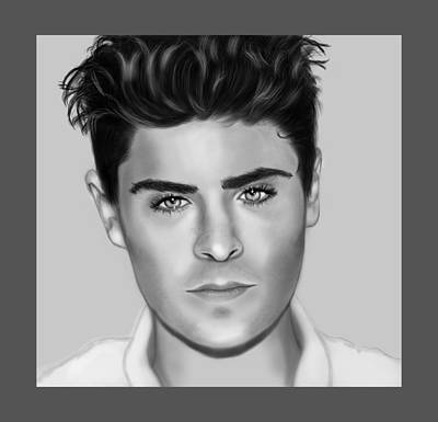 Portrait Of Zac Efron  Poster by Maria T Martinez
