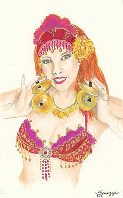 Portrait Of The Artist Playing Zills -- Belly Dancer Self-portrait Poster
