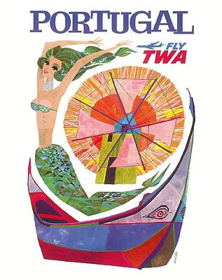 Portugal Fly Twa Mermaid Travel Poster Poster