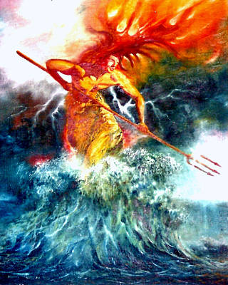 Poster featuring the painting Poseidon by Henryk Gorecki