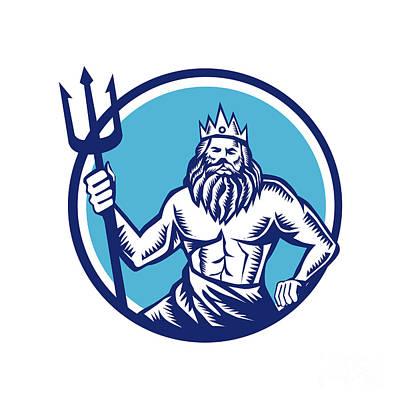 Poseidon Trident Circle Woodcut Poster by Aloysius Patrimonio