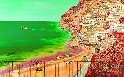 Poster featuring the painting Positano Bay by Loredana Messina