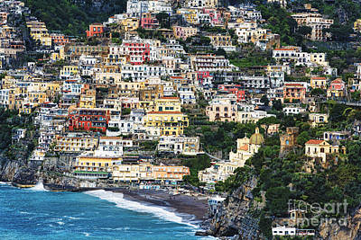 Positano Houses And Beach From Above Poster by George Oze