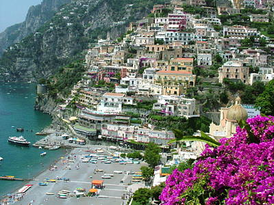 Positano's Beach Poster by Donna Corless