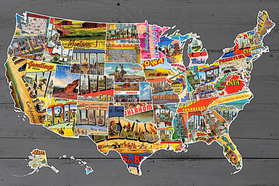 Postcards Of The United States Vintage Usa Map On Gray Wood Background Poster by Design Turnpike