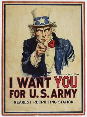 Poster, I Want You, April 1917, United States, By James Montgomery Flagg, United States Government Poster by Celestial Images