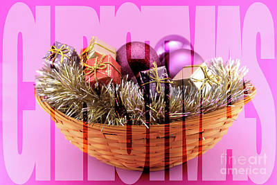 Poster With A Decorated Christmas Basket Poster