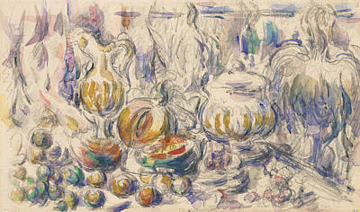 Pot And Soup Tureen  Poster by Paul Cezanne