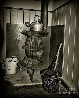 Pot Belly Stove In Black And White Poster