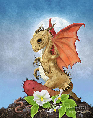 Poster featuring the digital art Potato Dragon by Stanley Morrison