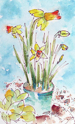 Potted Daffodils Poster