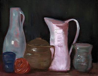 Pottery, Vases And Pitchers - Still Life Poster by Bernadette Krupa