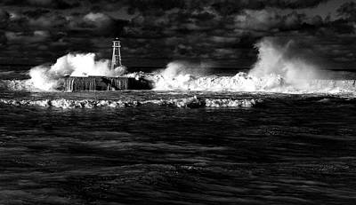 Poster featuring the photograph Pounding The Breakwater by Nareeta Martin