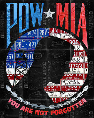 Pow Mia You Are Not Forgotten Recycled Vintage American License Plate Art Poster by Design Turnpike