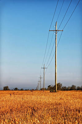 Poster featuring the photograph Power Lines At Sunrise by Lars Lentz