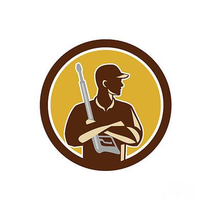 Power Washer Arms Crossed Pressure Washing Gun Circle Retro Poster by Aloysius Patrimonio