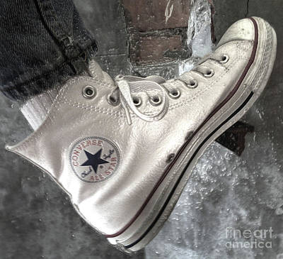 Powerful Optical White Converse All Star In Bw. Poster