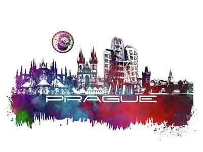 Prague Art Skyline Poster