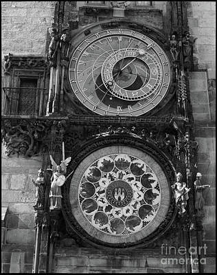 Prague Astronomical Clock In B/w Poster