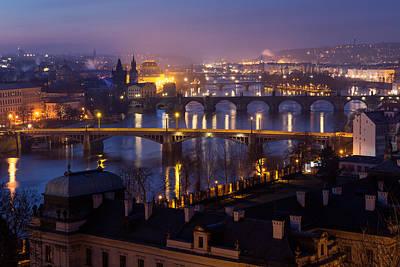 Prague Bridges Poster by Blaz Gvajc