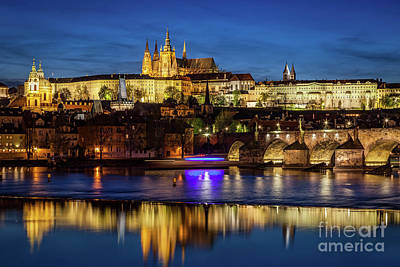 Prague Castle, Hradcany Reflecting In Vltava River In Prague, Czech Republic At Night Poster