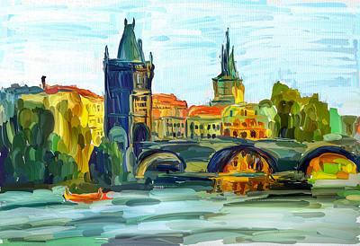 Prague City Poster by Yury Malkov