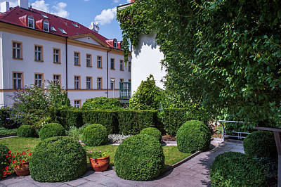 Poster featuring the photograph Prague Courtyards. Regular Style Garden by Jenny Rainbow