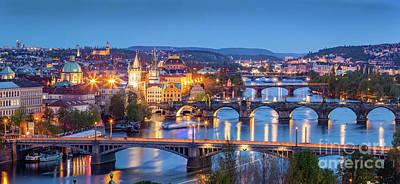 Prague, Czech Republic Bridges Panorama. Charles Bridge And Vltava River At Night Poster by Michal Bednarek