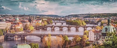 Prague, Czech Republic Bridges Skyline With Historic Charles Bridge And Vltava River. Vintage Poster by Michal Bednarek