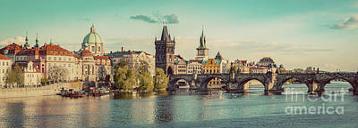 Prague, Czech Republic Panorama With Historic Charles Bridge And Vltava River Poster by Michal Bednarek