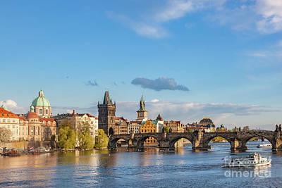 Prague, Czech Republic Skyline With Historic Charles Bridge And Vltava River Poster by Michal Bednarek