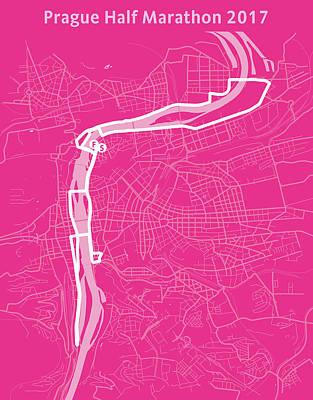 Prague Half Marathon Magenta Poster by Big City Artwork