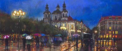Prague Old Town Square St Nikolas Ch Poster by Yuriy  Shevchuk