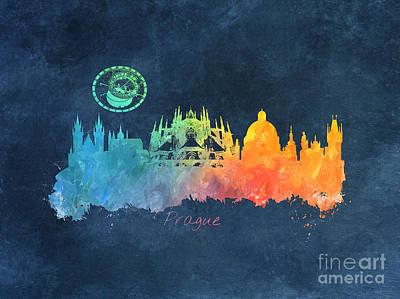 Prague Skyline Colored Poster