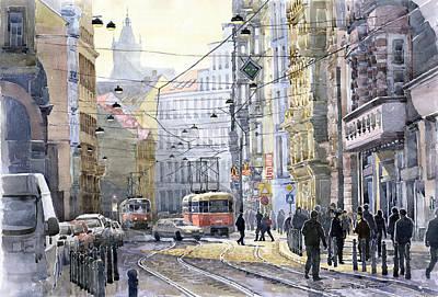 Prague Vodickova Str Poster by Yuriy  Shevchuk