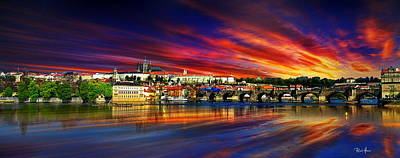 Pragues Historic Charles Bridge Poster by Russ Harris