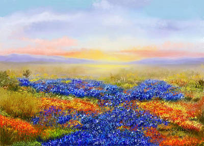 Poster featuring the painting Prairie In Bloom by Sena Wilson