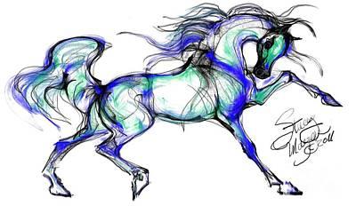 Prancing Arabian Horse Poster