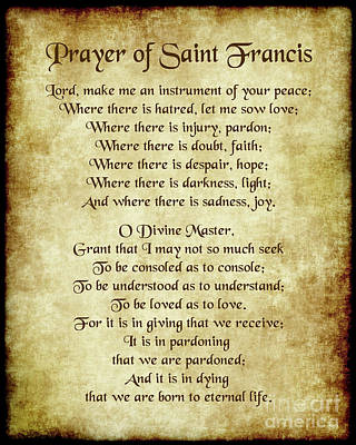 Prayer Of St Francis - Antique Parchment Poster by Ginny Gaura