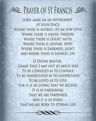 Prayer Of St Francis - Pope Francis Prayer - Blue-grey Parchment Poster
