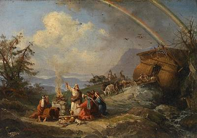 Prayer Of Thanks After Disembarking From Noah's Ark By Domenico Morelli Poster
