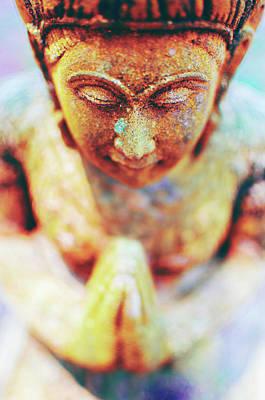 Praying Buddha Sandstone Statue Poster