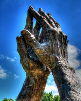 Praying Hands Sculpture Poster by Ann Higgens