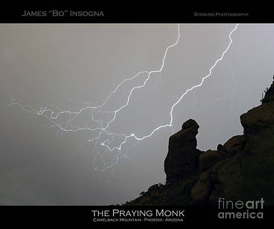 Praying Monk Lightning Striking Poster Print Poster
