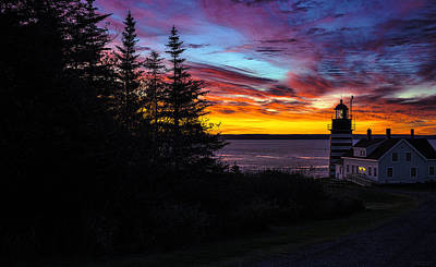 Pre Dawn Light At West Quoddy Head Lighthouse Poster
