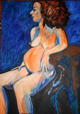 Poster featuring the painting Pregnant Woman In Blue by Esther Newman-Cohen