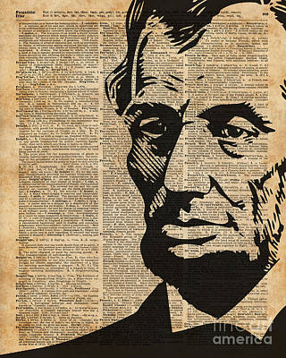 President Abraham Lincoln Historical Vintage Dictionary Art Poster by Jacob Kuch