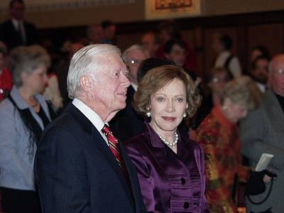 Poster featuring the photograph President And Mrs. Jimmy Carter Nobel Celebration by Jerry Battle