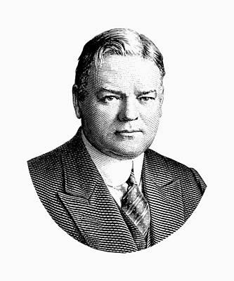 President Herbert Hoover Graphic - Black And White Poster